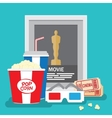 Set of movie design elements flat style vector image