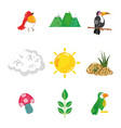 set of nature pixelated icons vector image
