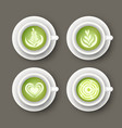 set with realistic white cups with matcha latte vector image