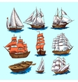 Ships and boats sketch set vector image vector image