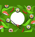 sushi banner with rolls chopsticks shrimp ebi vector image vector image