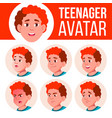 teen boy avatar set face emotions vector image