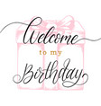 welcome to my birthday hand lettering phrase vector image