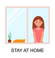 woman stay at home to prevent from virus spreading vector image vector image
