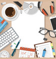workplace workspace concept with office supplies vector image