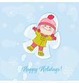 Christmas Snow Angel Baby Card vector image