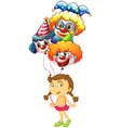 A young girl holding three clown balloons vector image vector image