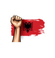 albania flag and hand on white background