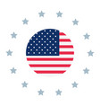 american flag stars button symbol vector image