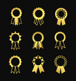 award ribbons golden icons set vector image vector image