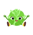Big Eyed Cute Girly Cabbage Character Sitting vector image vector image