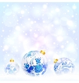 Blue Christmas balls with floral ornament vector image vector image