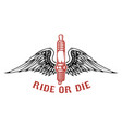 born to ride spark plug with wings isolated on vector image vector image