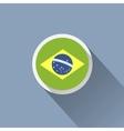 Brazil flag button icon vector image vector image