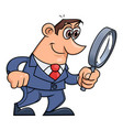 businessman is looking through the loupe 2 vector image vector image