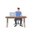 businessman sitting at workplace smiling business vector image