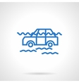 Car flood insurance blue line icon vector image