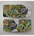 Cartoon doodles electric cars banners vector image vector image