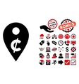 Cent Map Marker Flat Icon with Bonus vector image vector image