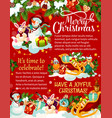 christmas celebration gifts greeting card vector image
