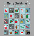 colorful mery chistmas advent calendar cute vector image vector image