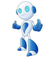 cute cartoon robot smile and giving thumbs up on w vector image