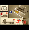 designer set for car parking vector image vector image