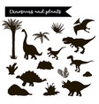 dinosaur black set with plants isolated vector image vector image
