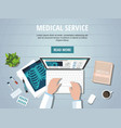 doctors table workplace vector image vector image