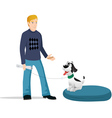 dog owner bed vector image vector image