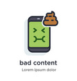 emotion phone bad content turd nauseous green vector image