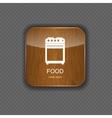 Food and drink wood application icons vector image vector image