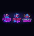 gifts collection neon signs surprise vector image vector image