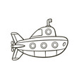hand drawn doodle submarine with periscope vector image