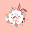happy easter spring holiday quote with rabbit ears vector image vector image