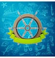 helm boat with hand-drawn elements marine theme vector image vector image