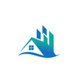home wave business real estate logo vector image