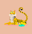 jungle print with tiger vector image vector image
