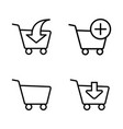 line shopping trolley icons on white background vector image vector image