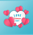 love for valentines day paper heart on blue vector image