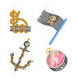 marine nautical equipment and ship icons vector image vector image