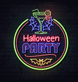 neon sign halloween party with cocktail vector image