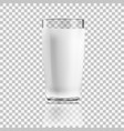 realistic clear glass of milk isolated on vector image vector image