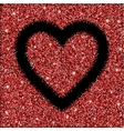 red glitter texture and heart frame vector image