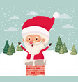 santa claus with chimney in snowscape vector image vector image