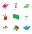 Schooling icons set cartoon style vector image vector image