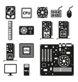 Set of computer hardware icons vector image