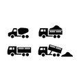set of dumper and concrete mixer truck icons vector image