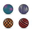 set of glossy colored balls with strip and square vector image