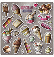 set of ice cream cartoon stickers vector image
